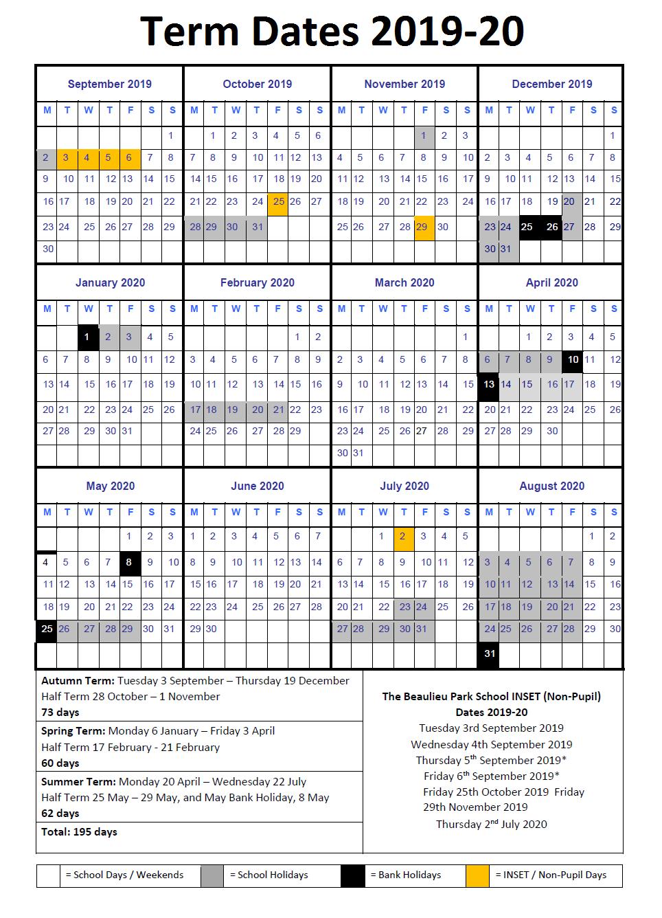 2019 20 term Dates