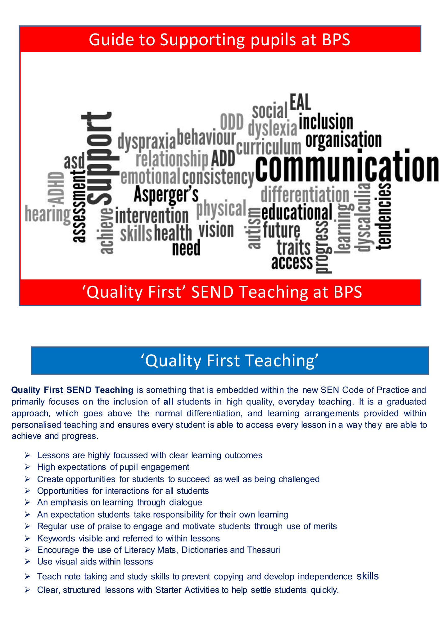 Guide to supporting pupils BPS 0000