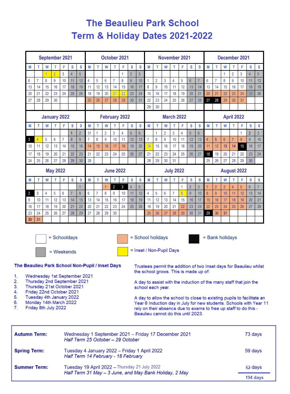 Term Dates 20212022